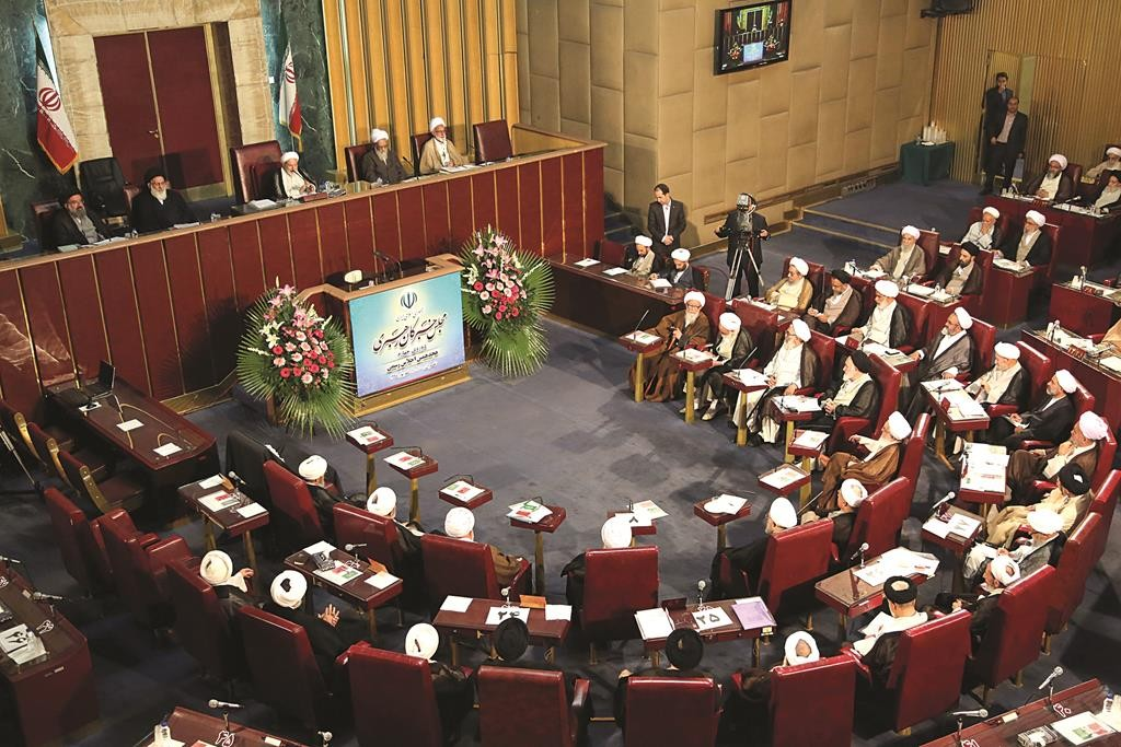 Members of Iran's Assembly of Experts attend their biannual meeting in Tehran, Iran, Tuesday. The 86-member all-cleric assembly is charged with choosing or dismissing the nation's supreme leader, the highest-ranking official who has the final say on all state matters. However, it has only once picked a supreme leader since the 1979 Islamic Revolution — in 1989, when it chose Ayatollah Ali Khamenei to succeed the late Ayatollah Khomeini. (Atta Kenare/AFP/Getty Images)