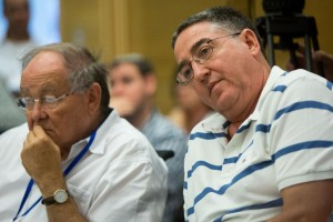 Resigned editor-in-chief of the Israel Broadcasting Authority, Yona Wiesenthal, attending a Knesset hearing on the fate of the IBA. (Yonatan Sindel/Flash90)