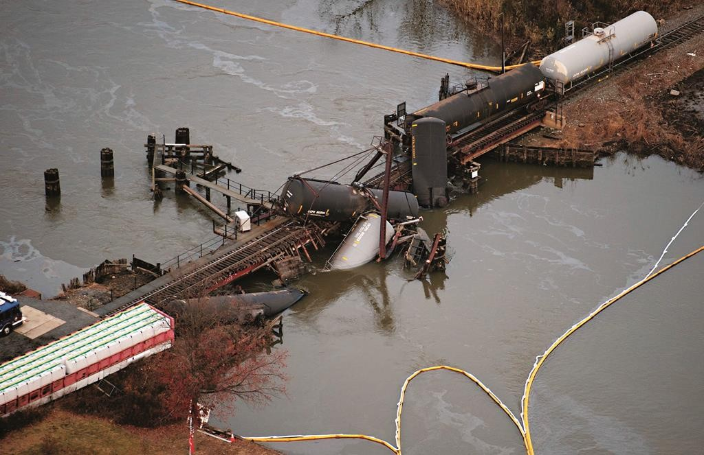 The aftermath of the derailment in Paulsboro, N.J., on Nov. 30, 2012. (AP Photo/Cliff Owen)