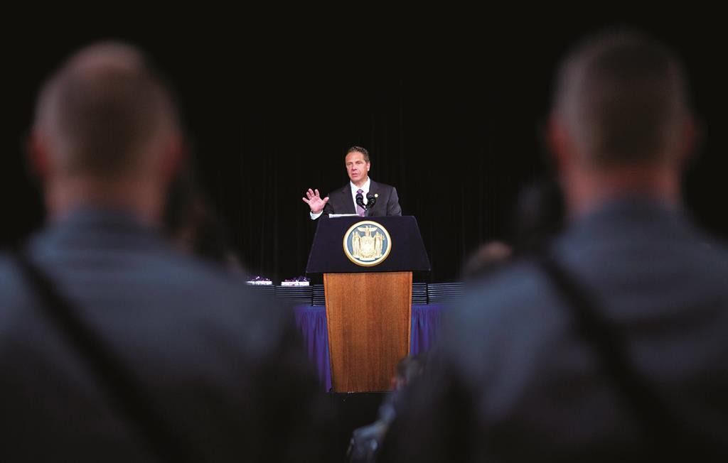New York Gov. Andrew Cuomo speaks during the New York State Police graduation ceremony at the Empire State Plaza Convention Center in Albany, on Thursday.  (AP Photo/Mike Groll)