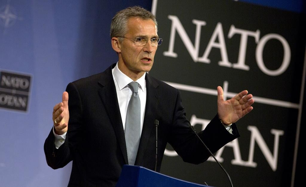 NATO Secretary General Jens Stoltenberg speaks during a media conference at NATO headquarters in Brussels on Thursday. (AP Photo/Virginia Mayo)