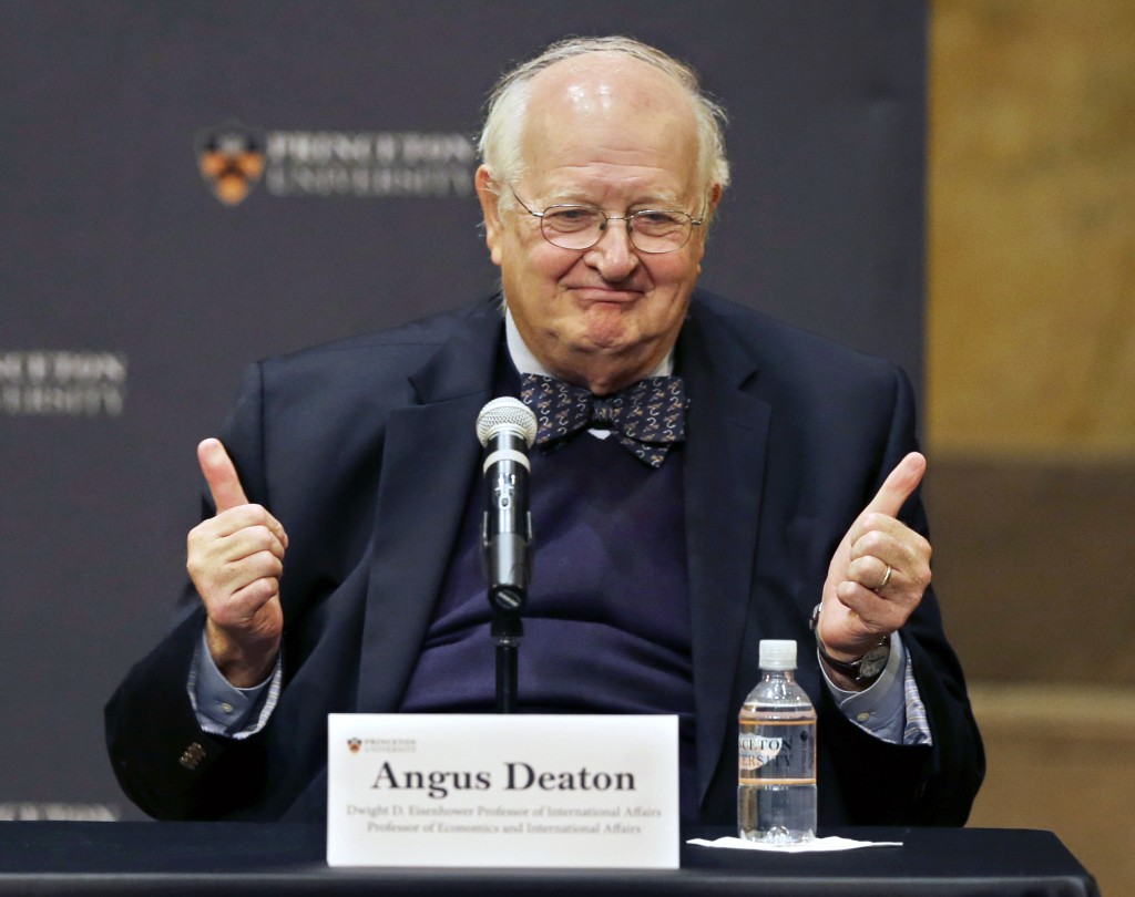 Angus Deaton at a gathering at Princeton University after it was announced that he won the Nobel prize in economics on Monday, Oct. 12, 2015, in Princeton, N.J. (AP Photo/Mel Evans)