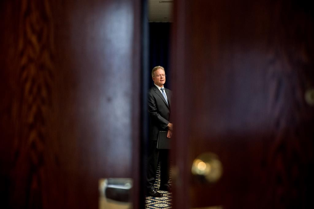 Former Virginia Sen. Jim Webb waits in a side room before announcing he will drop out of the Democratic race for president, Tuesday, at the National Press Club in Washington.  (AP Photo/Andrew Harnik)
