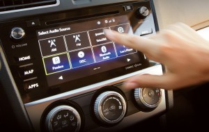 The interior of the 2015 Subaru XV Crosstrek is equipped with a touchscreen to control audio and other features. (Toshi Oku/TNS)