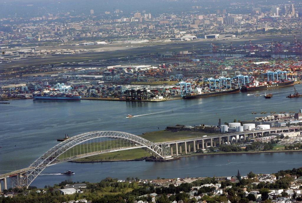 The port of Newark is seen beyond the Bayonne Bridge. (AP Photo/Mel Evans)