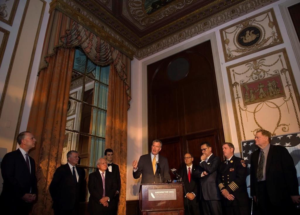 Mayor Bill de Blasio on Thursday speaks at the New York Police & Fire Widows' & Children's Benefit Fund at Manhattan's Waldorf Astoria Hotel. (Ed Reed/Mayoral Photography Office)