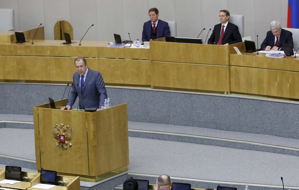 Russian Foreign Minister Sergei Lavrov delivers a speech during a session of the State Duma, the lower house of parliament, in Moscow, Russia, Wednesday. Lavrov said the United States declined to send a high-level military delegation to Moscow to discuss deeper coordination in fighting in Syria as had been proposed by Moscow.  (REUTERS/Sergei Karpukhin)