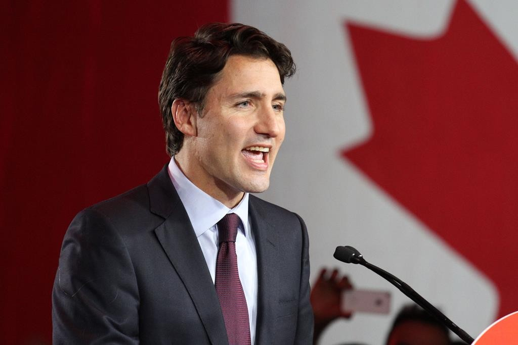 Canada's Liberal party leader Justin Trudeau gives his victory speech in Montreal after the election on Monday night. (Mico Smiljanic/Xinhua/Zuma Press/TNS)