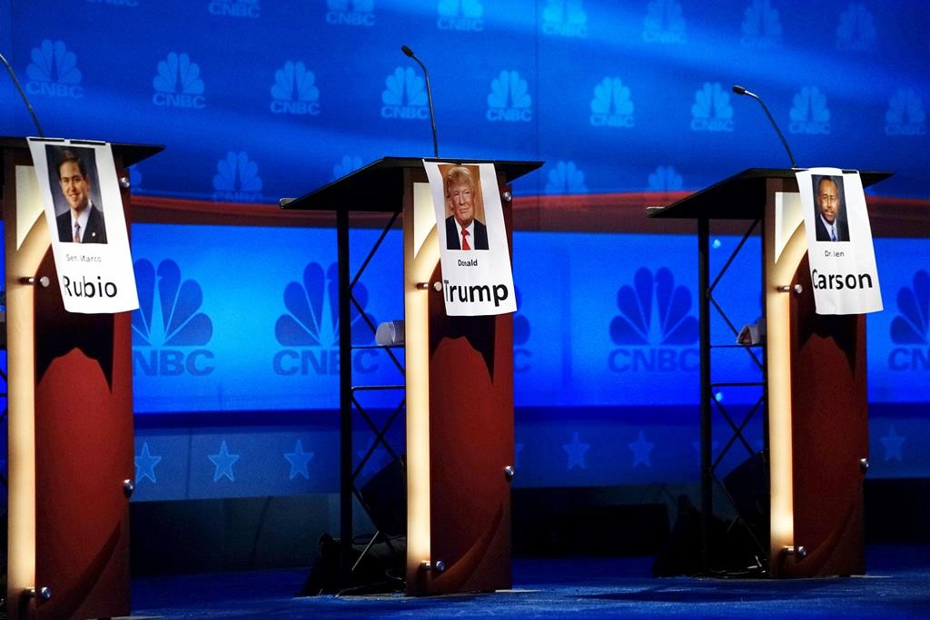 The podiums for (L-R) Marco Rubio, Donald Trump and Ben Carson are lined up in the center of the stage for tomorrow's Republican presidential candidate debate in Boulder, Colorado, Tuesday. Republican candidates vying for the White House will meet on the debate stage Wednesday night in Colorado for the third time. (REUTERS/Rick Wilking)