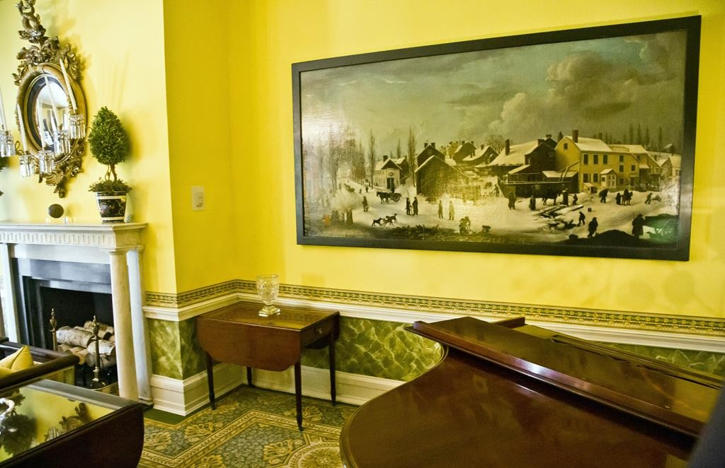 "Gracie Mansion's living room on Friday features a Louisa Ann Colman 1820 oil painting titled ""Downtown Brooklyn."" (AP Photo/Bebeto Matthews)"