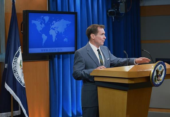 State Department Spokesman John Kirby speaking at a press briefing in Washington. (MANDEL NGAN/AFP/Getty Images)