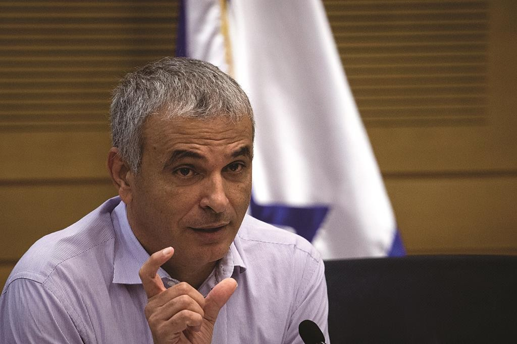 Finance Minister Moshe Kahlon speaking in the Knesset on Monday. (Hadas Parush/Flash90)