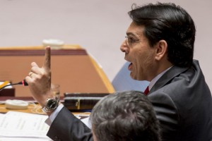 Israel's Ambassador to the United Nations Danny Danon during a heated exchange at a Security Council meeting on Thursday. (Reuters/Brendan McDermid)