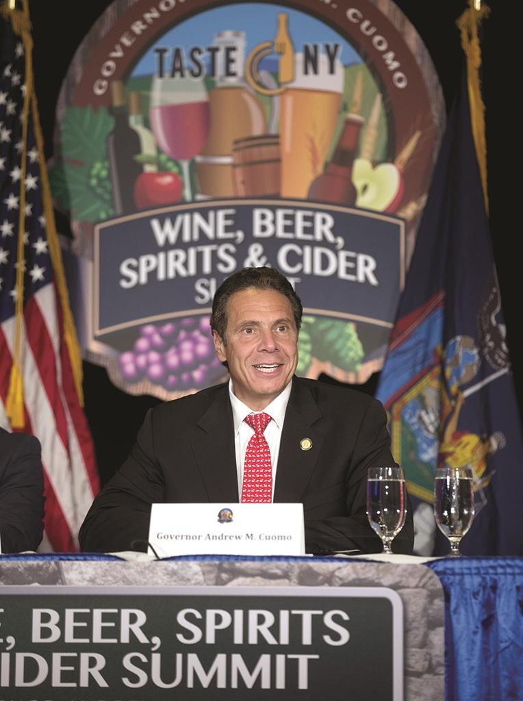 Gov. Andrew Cuomo on Wednesday at a Wine, Beer, Spirits and Cider Summit in Albany. (AP Photo/Mike Groll)