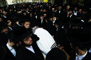 "The levayah of Rabbi Yeshayahu Krishevsky, Hy""d, in Mea Shearim on Tuesday. (Yonatan Sindel/Flash90)"