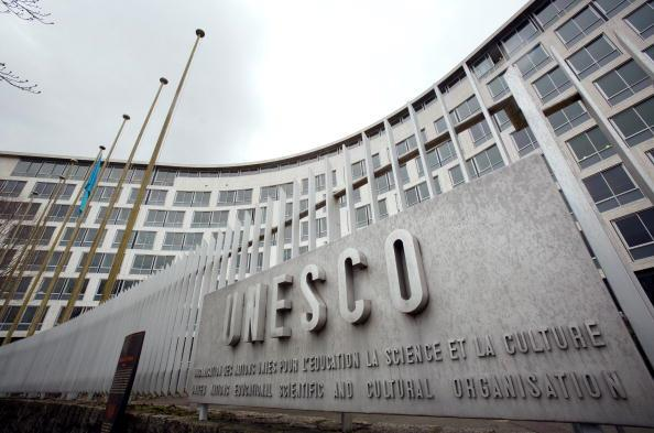 The facade of the United Nations Educational Scientific and Cultural Organisation (UNESCO) headquarters in Paris. (LOIC VENANCE/AFP/Getty Images)