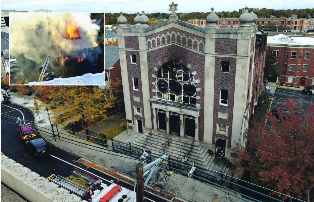The burned shell of the Poile Zedek Synagogue in New Brunswick, N.J.  (inset) Smoke and flames rise on Friday, at Poile Zedek.  (AP Photo/Mel Evans - WABC via AP)