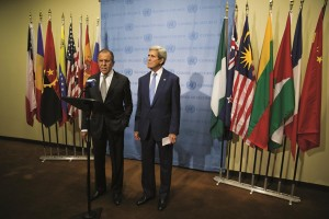 Secretary of State John Kerry (R) and Russian Foreign Minister Sergey Lavrov (L) speak to the media after their meeting about Syria at United Nations headquarters in New York, September 30, 2015. (DOMINICK REUTER/AFP/Getty Images)