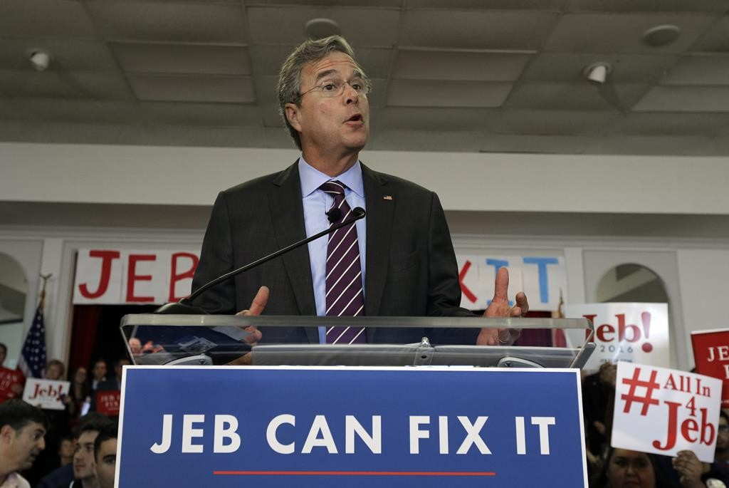 Republican presidential hopeful, former Florida Gov. Jeb Bush, speaks during a rally Monday, in Tampa, Fla.  (AP Photo/Chris O'Meara)