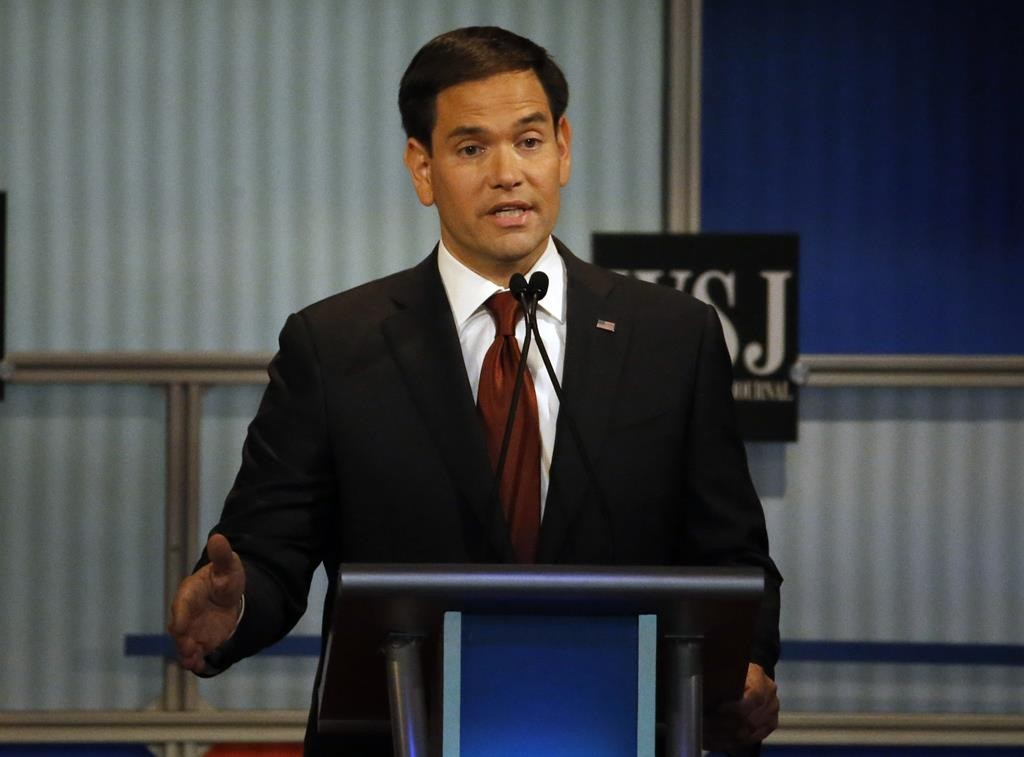 Marco Rubio speaks during Republican presidential debate at Milwaukee Theatre, Tuesday, Nov. 10, 2015, in Milwaukee. (AP Photo/Morry Gash)