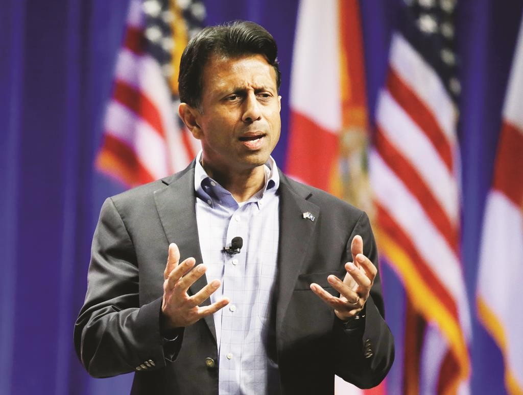 Republican presidential candidate Louisiana Gov. Bobby Jindal addresses the Sunshine Summit in Orlando, Fla., Saturday. (AP Photo/John Raoux)
