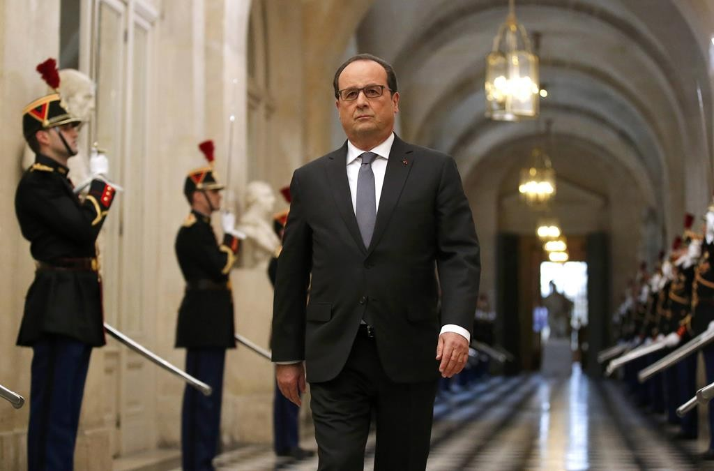 French President Francois Hollande arrives to deliver a speech at a special congress of the joint upper and lower houses of parliament, the National Assembly and the Senate, at the Palace of Versailles, nearParis, France, Monday. (REUTERS/Michel Euler/Pool)
