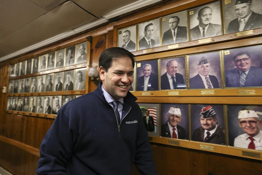 Republican presidential candidate Sen. Marco Rubio arrives for a town hall meeting at the Laconia VFW in Laconia, New Hampshire, Monday. (AP Photo/Cheryl Senter)