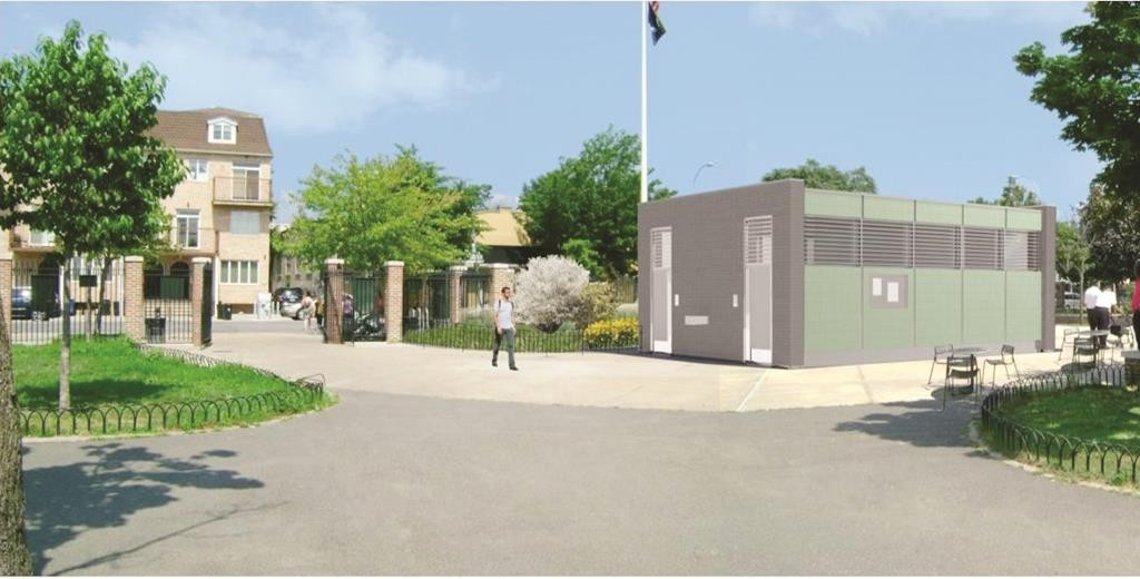 An artist's rendition of the comfort station in the 18th Avenue park, scheduled to be completed in April of 2017. (NYC Parks Department)