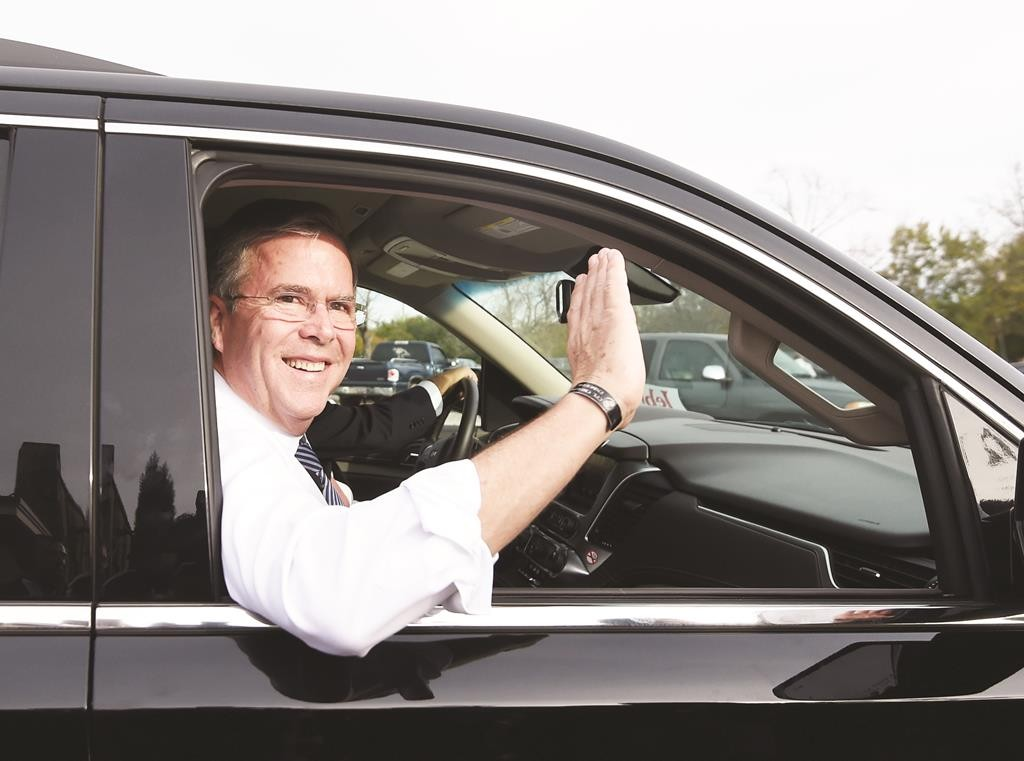 Republican presidential candidate and former Florida Gov. Jeb Bush waves to supporters during a campaign stop, Tuesday, in Florence, S.C.  (AP Photo/Rainier Ehrhardt)