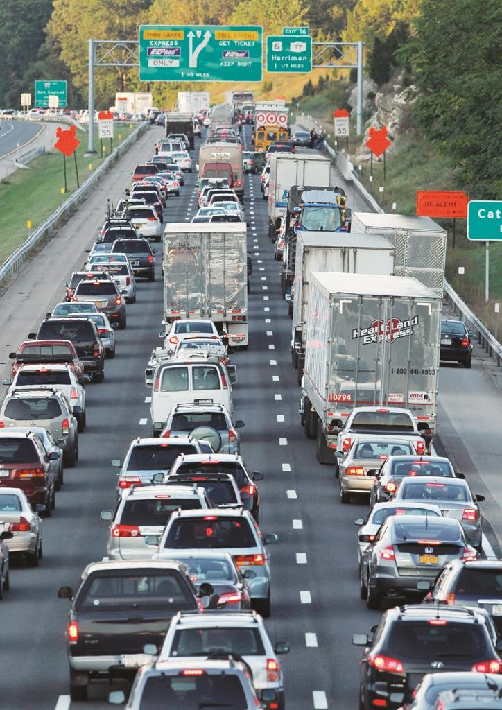 Traffic is backed up on the New York State Thruway in Harriman, N.Y., on Sept. 18, 2010, due to a fatal crash.  (AP Photo/Mike Groll)