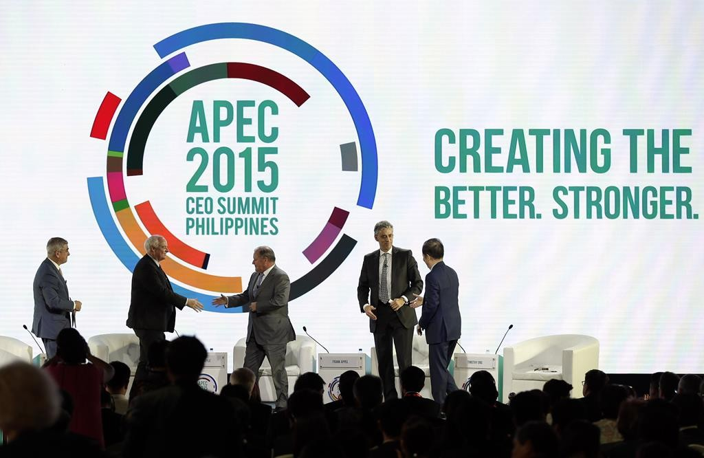 (L-R) Ayala Corporation CEO Jaime Zobel de Ayala, Canadian Chamber of Commerce CEO Perrin Beatty, Lord Mayor of Melbourne Robert Doyle, Deutsche Post DHL group CEO Frank Appel and Chairman of Asia Inc Forum Timothy Ong during the Asia Pacific Economic Cooperation (APEC) CEO Summit in Manila, Philippines, Tuesday. (Ritchie B. Tongo/Pool Photo via AP)