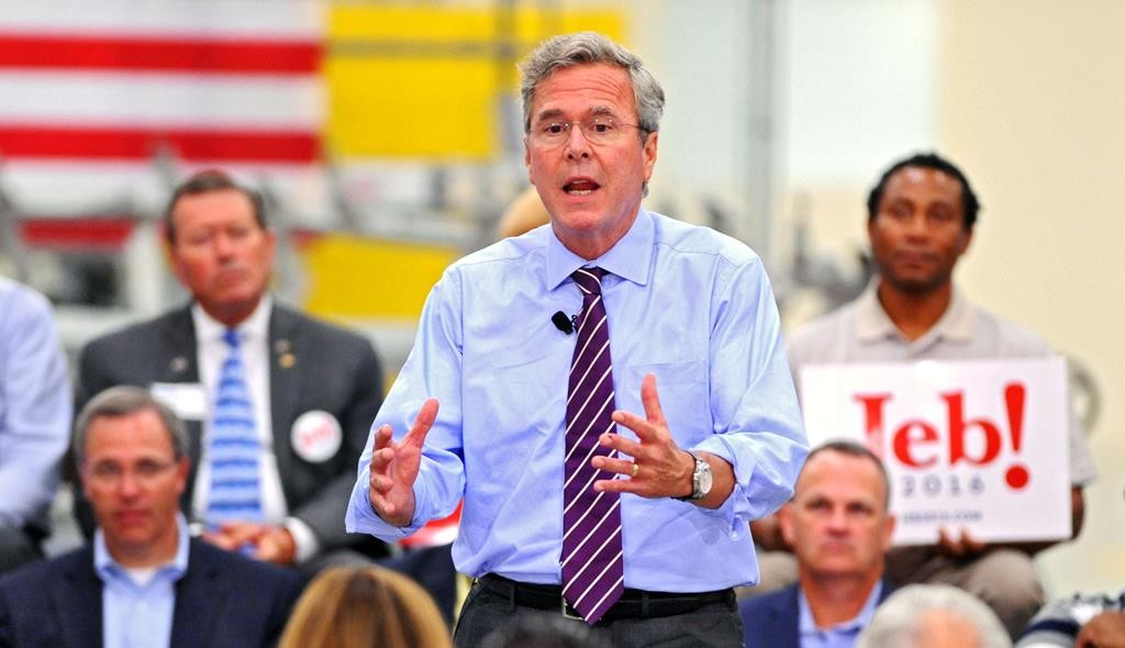Republican presidential candidate Jeb Bush talks about his record as Florida governor and his hopes for his presidency during a campaign stop at the Kaman Aerospace in Jacksonville, Fla. (Bob Mack/The Florida Times-Union via AP)