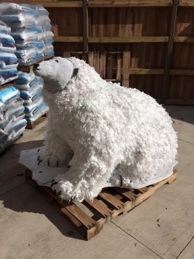 A fake polar bear made out of about 1,500 plastic bags in the Buffalo Zoo. (Buffalo Zoo)