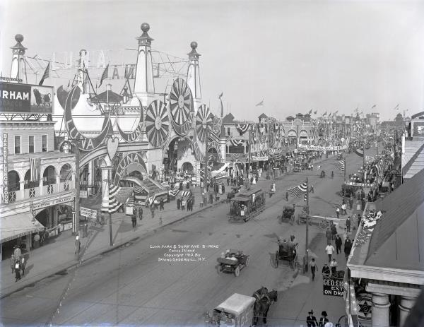 Luna Park on Surf Avenue in Coney Island in 1912. (Althea Morin/Brooklyn Museum)