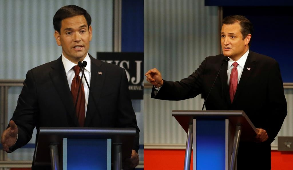 In this Nov. 10 photo, L-R: Marco Rubio and Ted Cruz,  speak during Republican presidential debate at the Milwaukee Theatre in Milwaukee.  (AP Photo/Morry Gash)