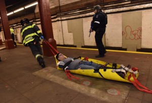 In an abandoned subway station in lower Manhattan, emergency responders on Sunday stage a drill simulating a terrorist attack. (NYPD)