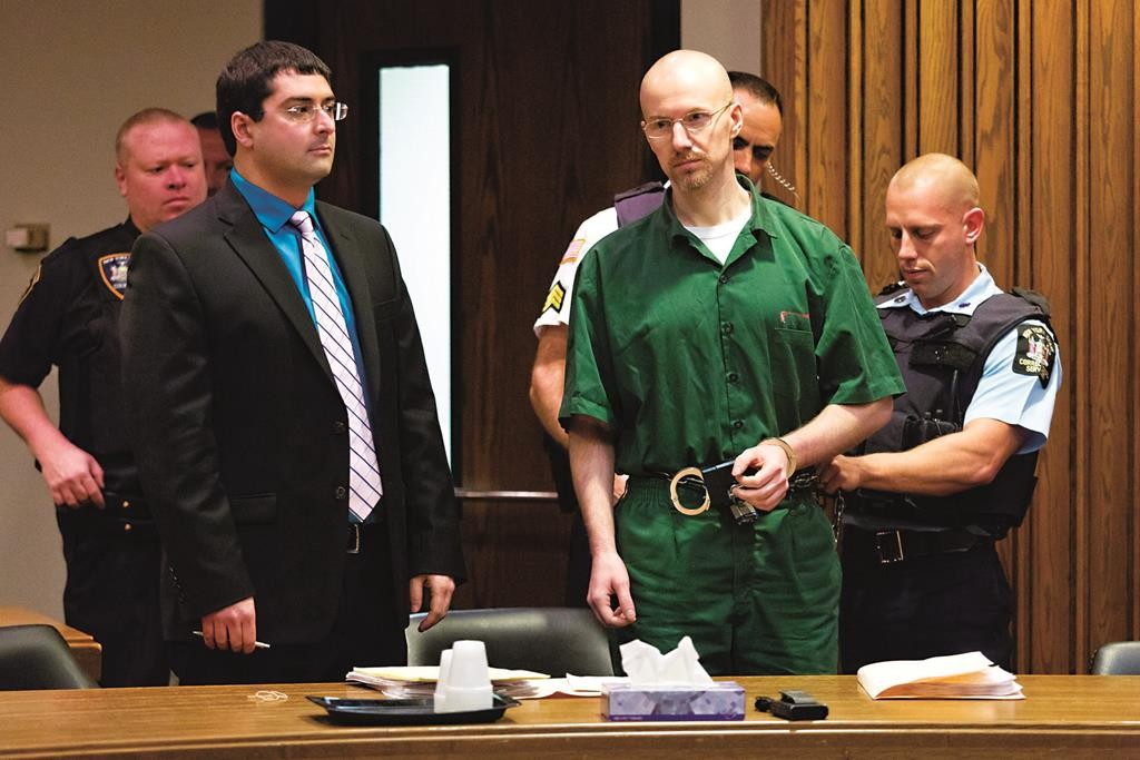 Convicted killer David Sweat (C) with his attorney appears Friday in Clinton County Court in Plattsburgh, N.Y. (Gabe Dickens/Press-Republican via AP)