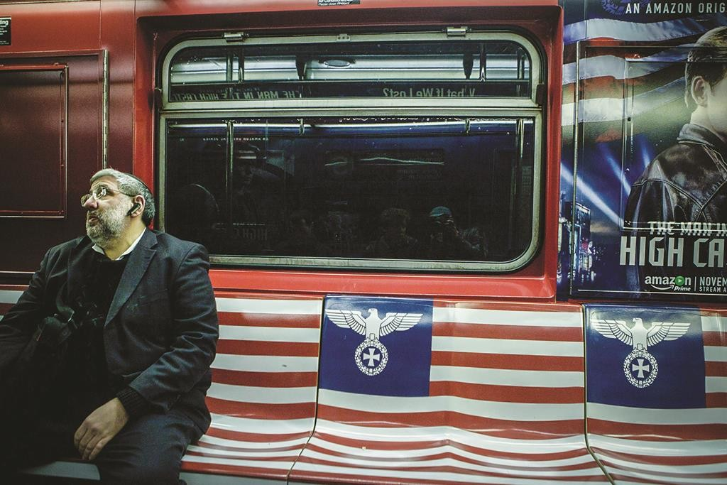 Seats on the MTA train covered with the Nazi Reichsadler eagle symbol, on the 42nd Street shuttle train in Manhattan. (Amir Levy/Flash90)