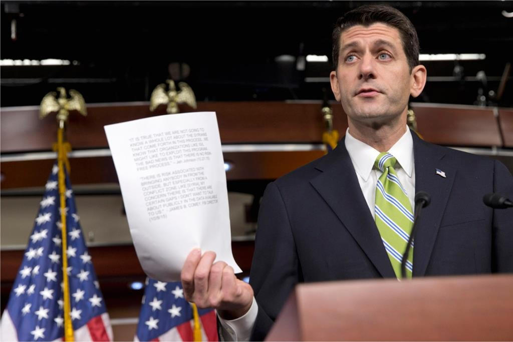 House Speaker Paul Ryan of Wis. quotes testimony from Homeland Security Secretary Jeh Johnson and FBI Director James Comey, during a news briefing on Capitol Hill in Washington, Thursday, where he spoke about refugees, Syria, and immigration.  (AP Photo/Jacquelyn Martin)