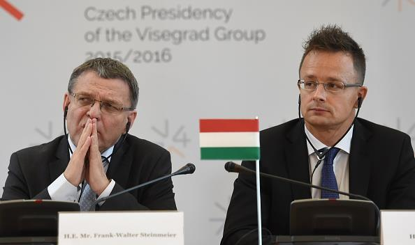 Hungary's foreign minister Peter Szijjarto (R) and Czech Republic's foreign minister Lubomir Zaoralek (L) attend a press conference on the migration crisis, September 11, 2015 in Prague. (MICHAL CIZEK/AFP/Getty Images)