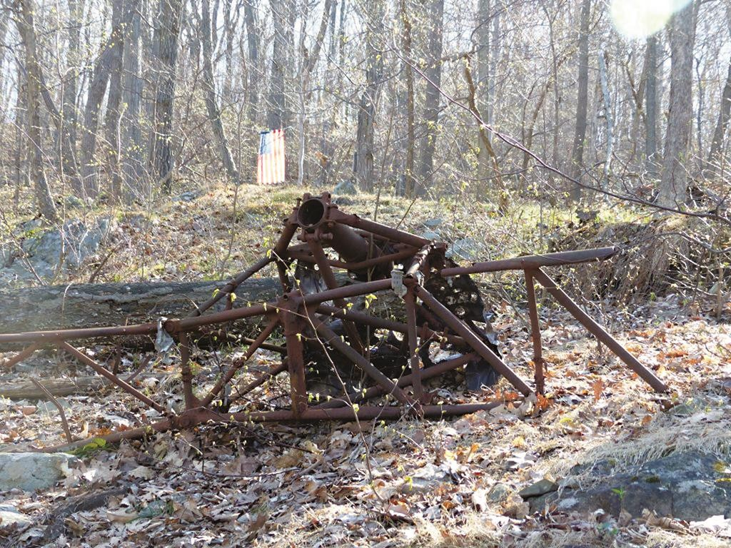 Some of the wreckage from 1945 of the twin-engine Navy Beechcraft that crashed into Mount Beacon in Fishkill, N.Y. (David Rocco via AP)