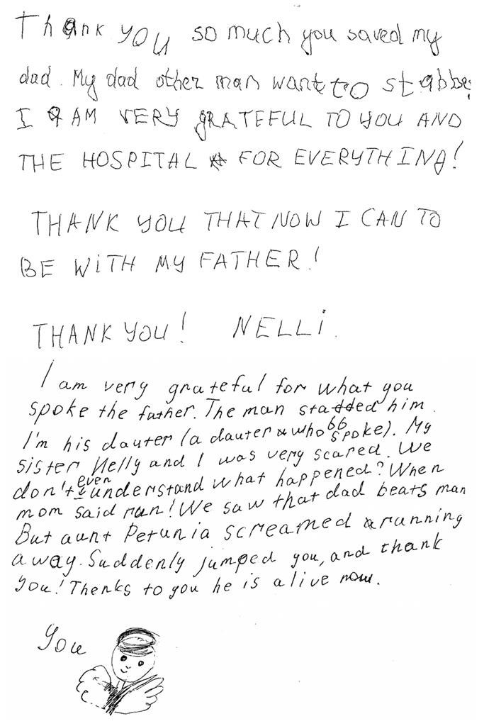 Two handwritten notes by Nelli and Eva Makrich to two NYPD officers who saved their father during an assault two weeks ago in Los Angeles. (NYPD)