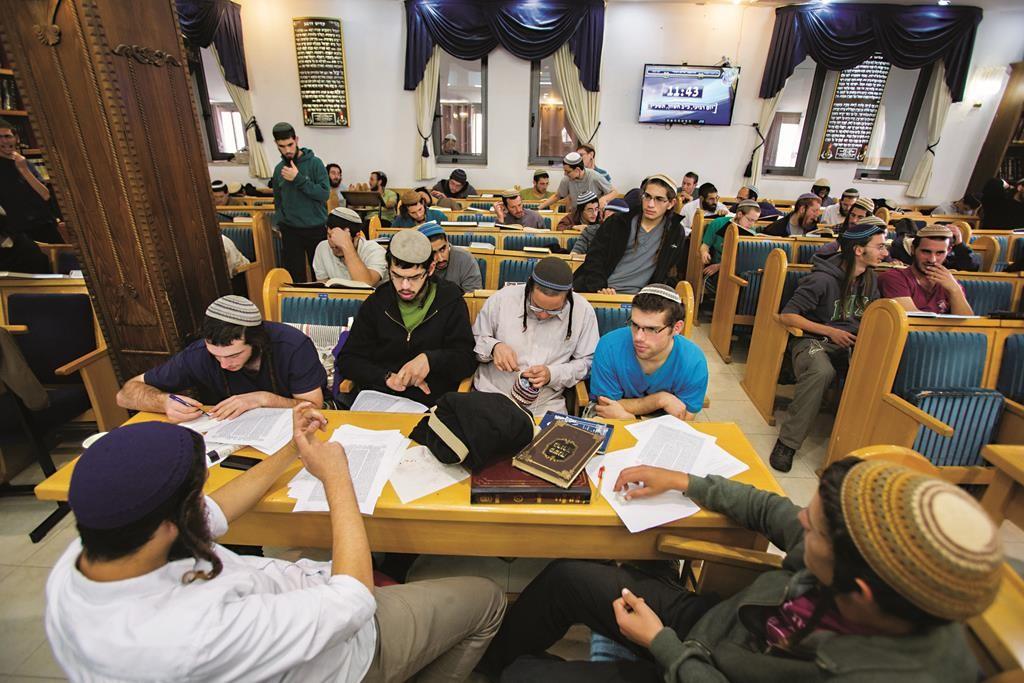 Inside the Ayelet Hashachar beis knesses in Givat Ze'ev, under threat of demolition, Wednesday. (Yonatan Sindel/Flash90)