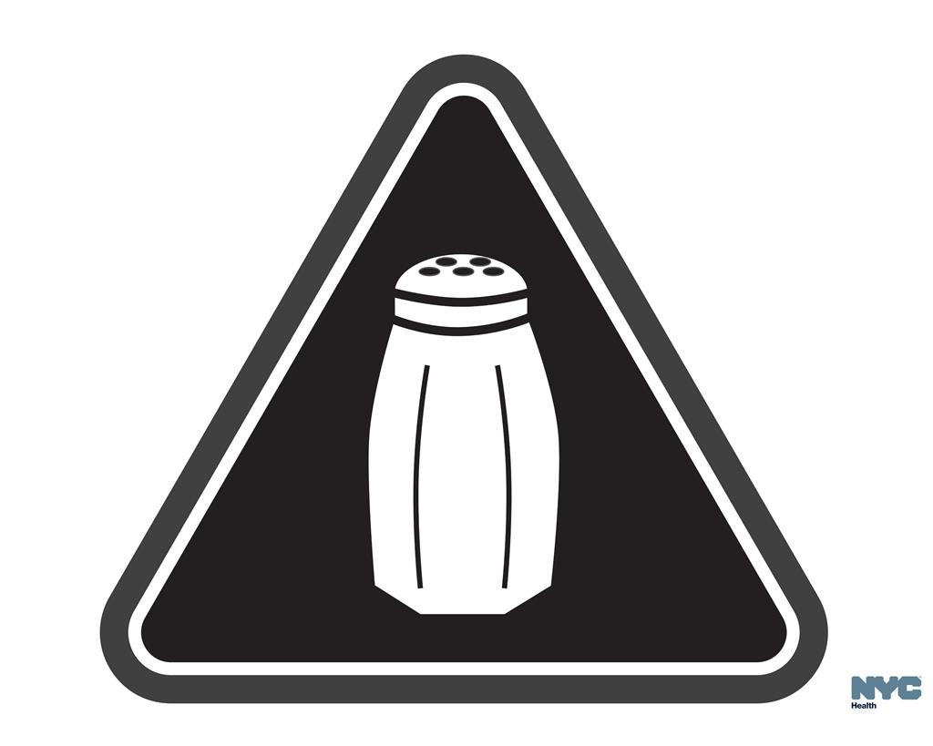 A graphic that will soon be warning NYC consumers of high salt content. (Antonio D'Angelo/New York City Health Department via AP)