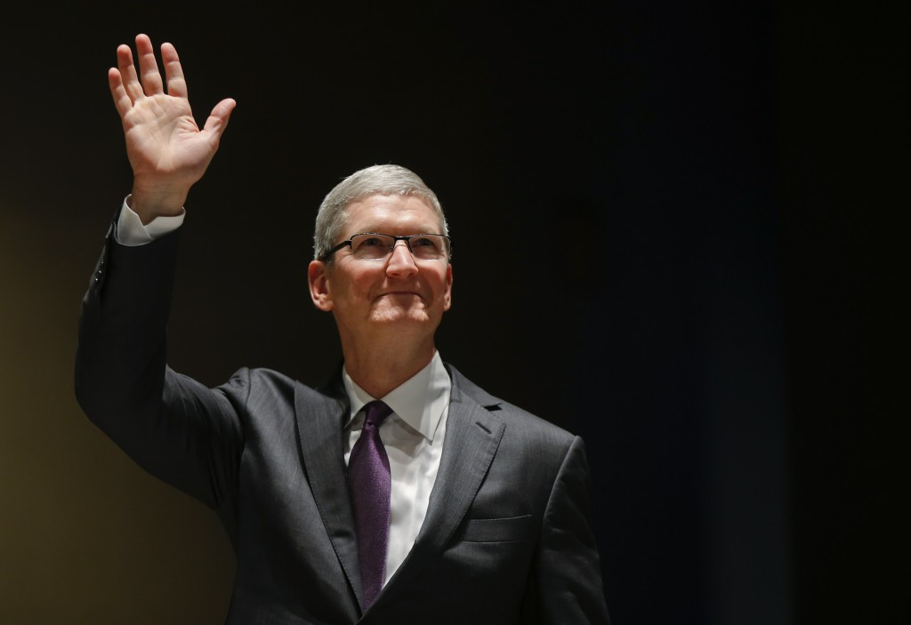 Apple CEO Tim Cook attends the inauguration of the academic year at the Bocconi University, in Milan, Italy, on Tuesday. (AP Photo/Luca Bruno)