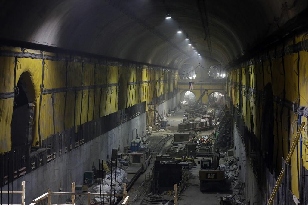 Contractors work Wednesday on the East Side Access project beneath midtown Manhattan. (AP Photo/Mary Altaffer)