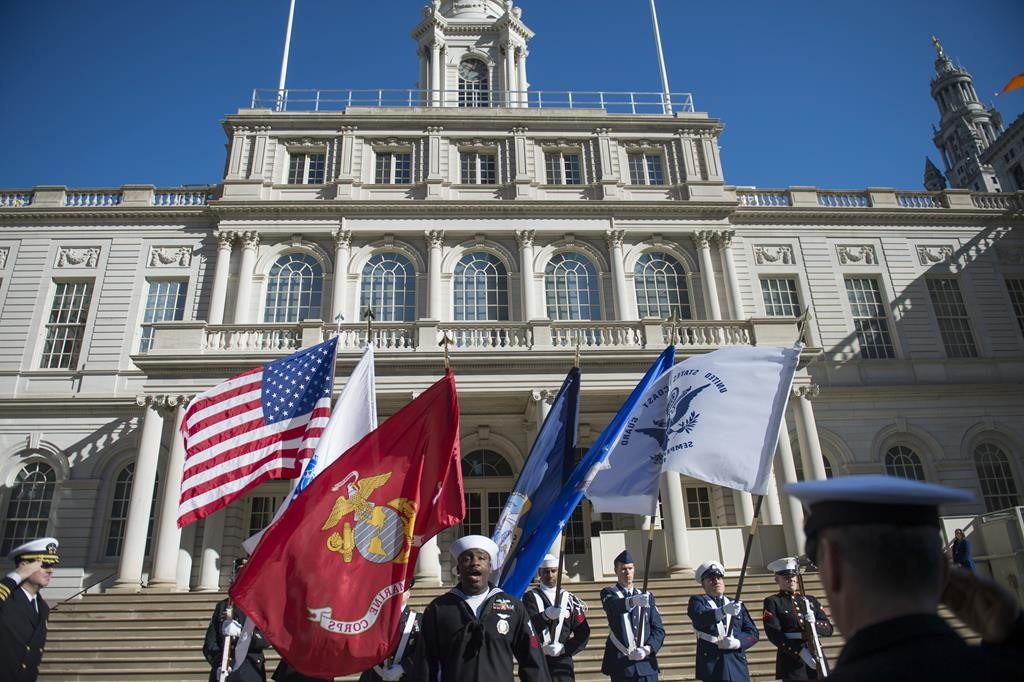 A ceremony outside City Hall Wednesday marks the beginning of Veterans Week in New York City. (Ed Reed/Mayoral Photography Office)