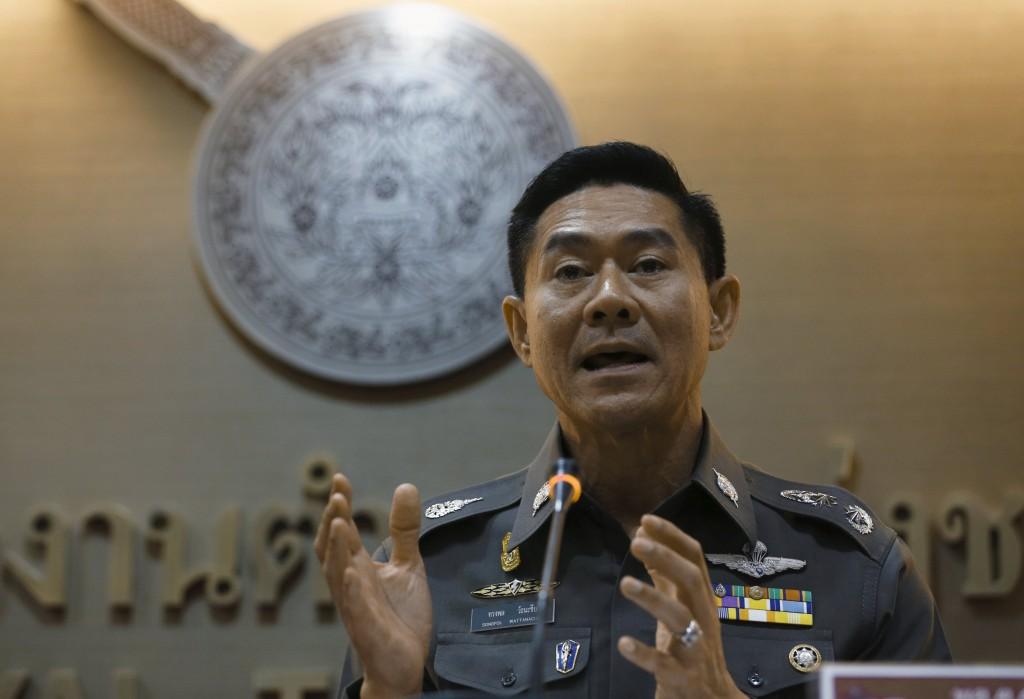 Thailand's deputy police spokesman Songpol Wattanachai gestures during a news conference at the Royal Thai Police headquarters in Bangkok, Thailand, December 4, 2015. REUTERS/Chaiwat Subprasom