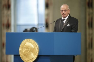 Secretary General of the Tunisian General Labor Union, Hussein Abassi, speaks during the Nobel Peace Prize award ceremony in Oslo, Norway, on Thursday. Poppe/NTB scanpix)