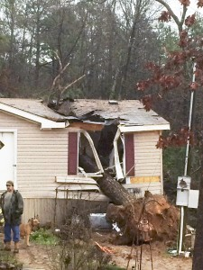 A storm damaged house is pictured outside of Atkins, Arkansas. (Reuters/Pope County Sheriff's Office/Handout via Reuters )